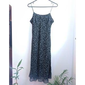 Early 2000s Ann Taylor Black/Blue/Green Slip Dress